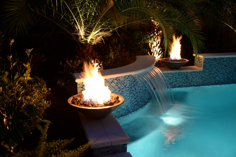 Katy water features photos houston waterfalls raised spas - Pool fire bowls ...