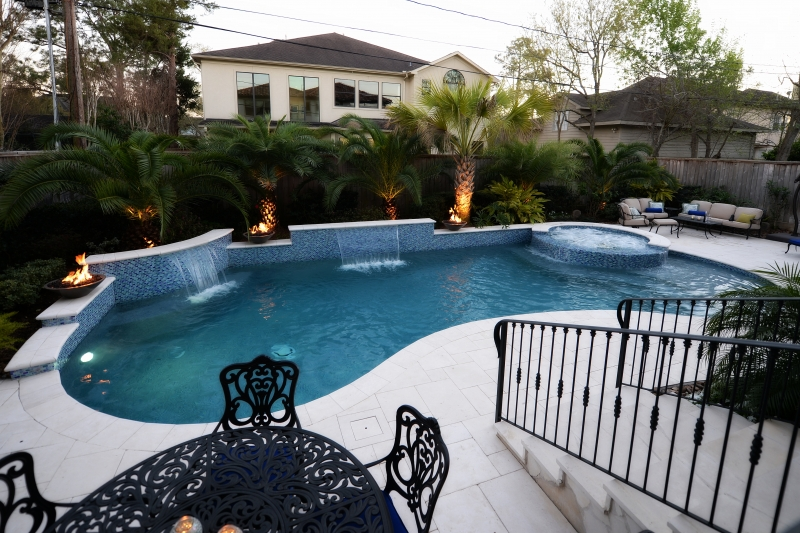 Katy water features photos houston waterfalls raised spas for Pool and spa show usa
