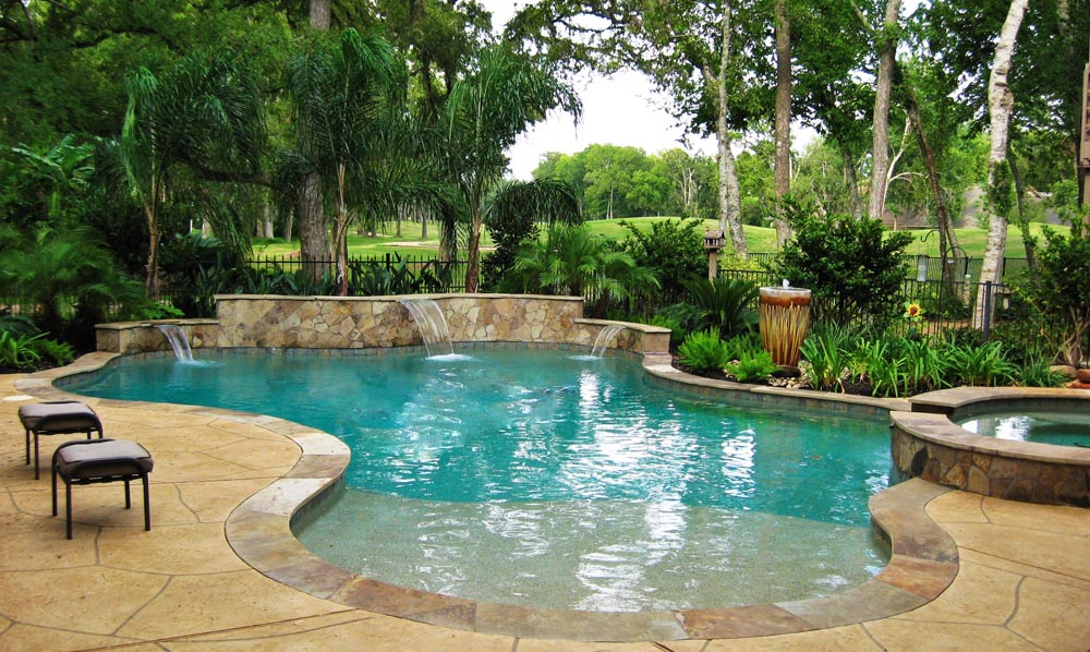 Katy water features photos houston waterfalls raised spas for Pool design katy