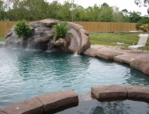 Pool with Slide and Waterfall with Mister