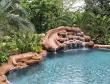 Pool with Weeping Rock, Waterfall and Slide