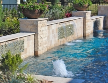 Raised Wall with Custom Tile, Sheer Descent and Bubblers