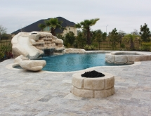 Pool and Spa with Rock Waterfall and Fire Pit