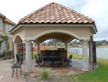 Hexagon Covered Patio and Outdoor Kitchen