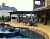 Outdoor living area with Outdoor Kitchen and Pergola