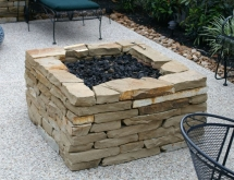 Square Stacked Stone Fire Pit