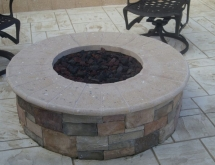 Stacked Stone and Travertine Fire Pit