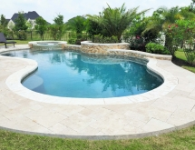 Freeform Pool with Raised Spa and Wall