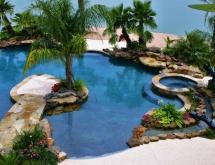 Freeform Pool with Raised Spa, Bridge, Pool Landscaping