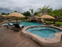 Pool with Beach Entry and Oversized Spa