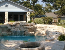Pool with Waterfall and Firepit