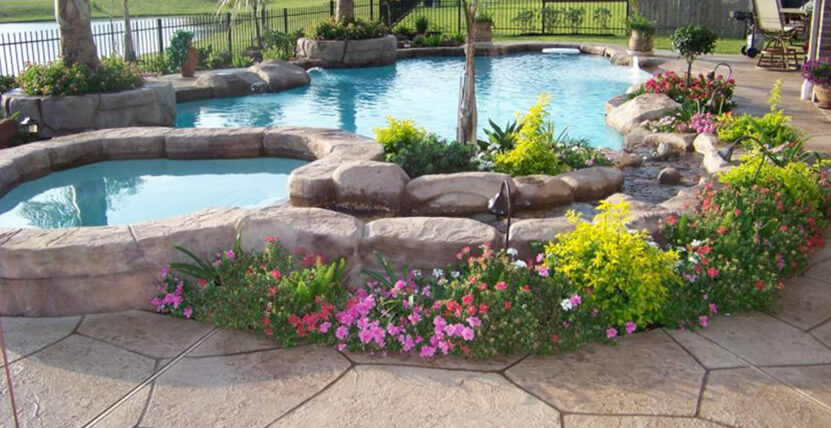 Pool landscaping ideas houston pool builder katy pool for Pool landscaping pictures